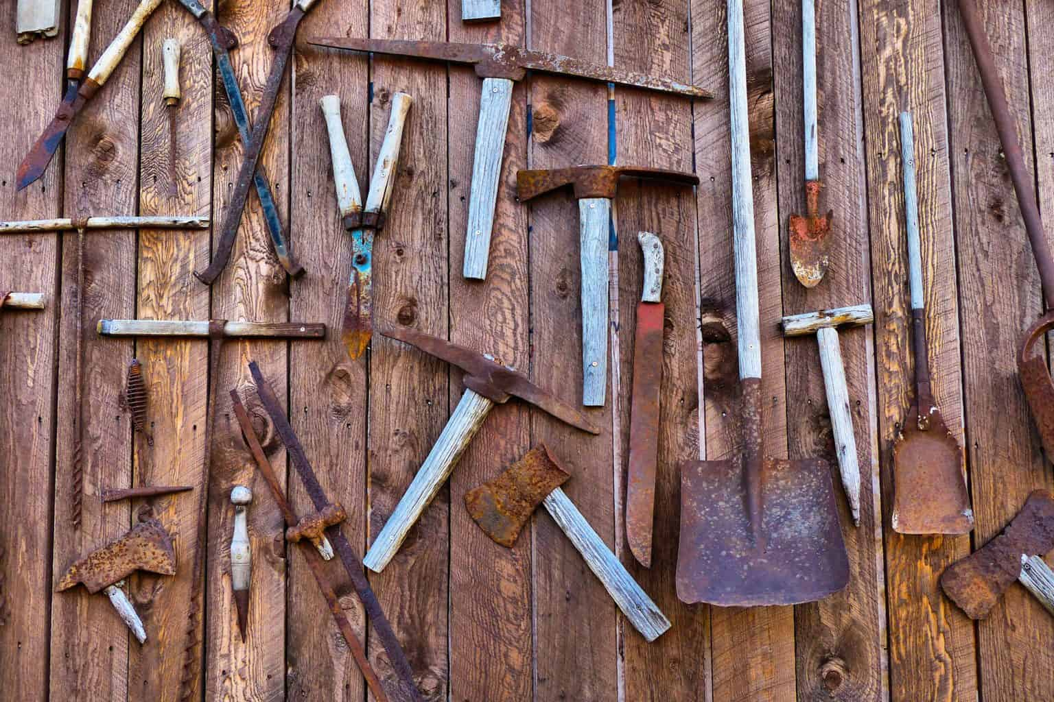 A rusty old set of tools