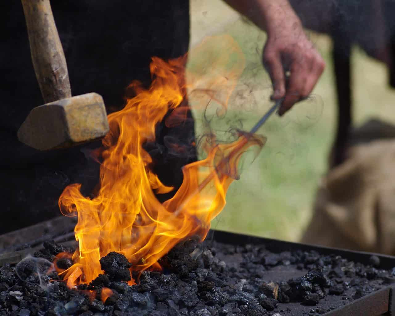 A thin metal on fire
