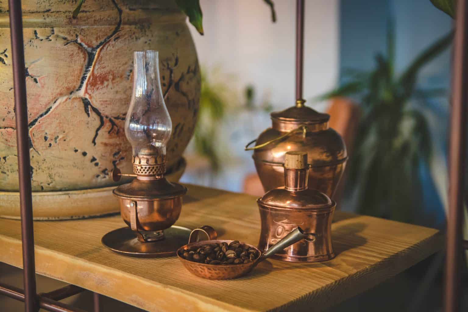 Brass lamp and pots