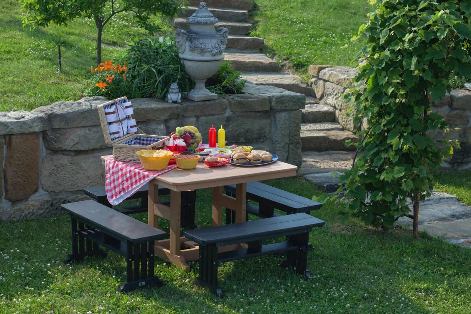 A picnic table with food