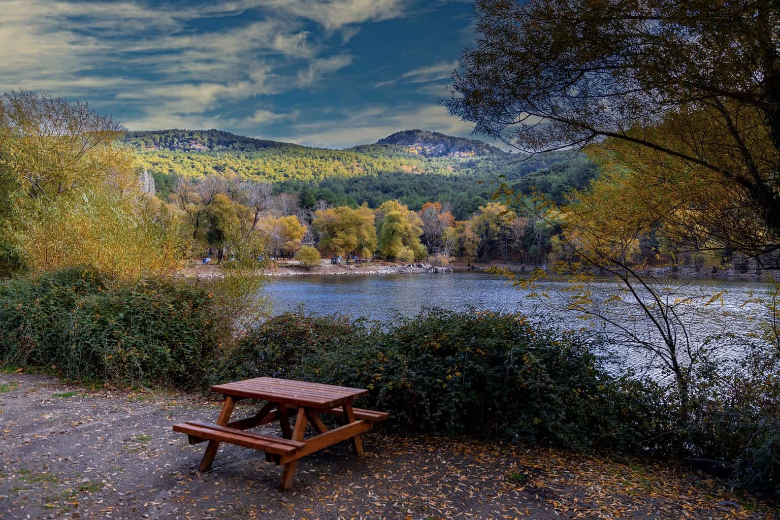 A picnic table beside a body of water