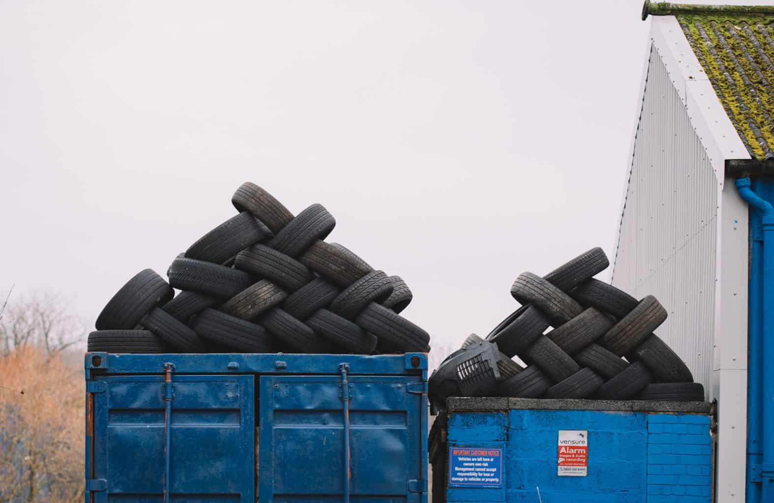 Two piles of car tires