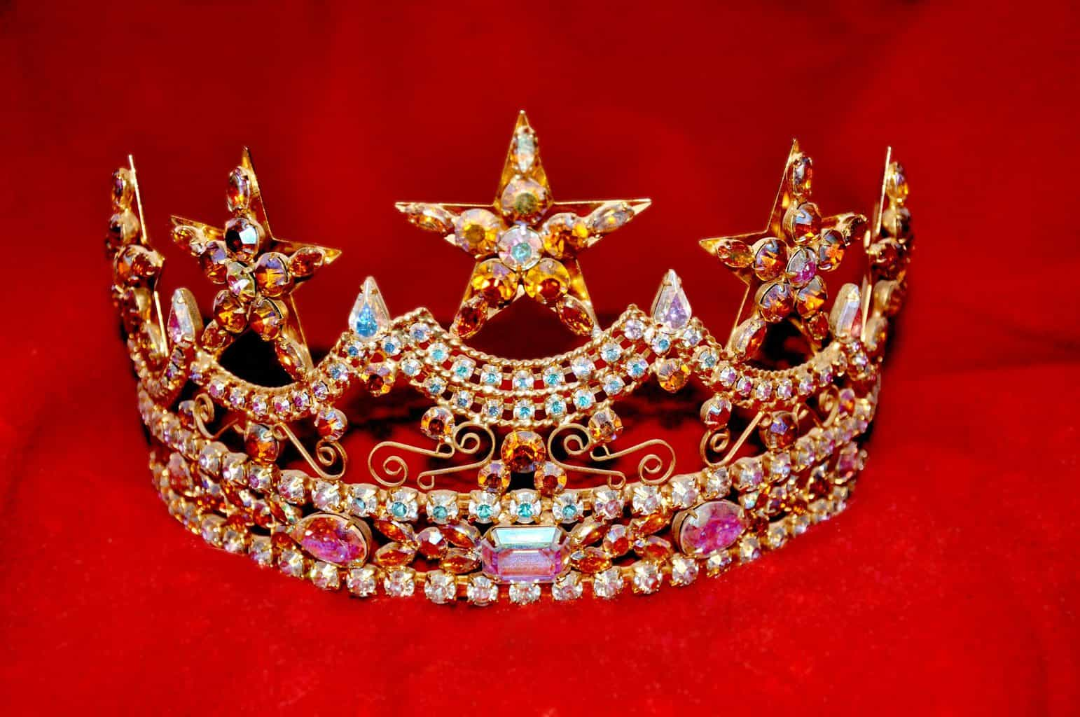 A crown with different rhinestones attached