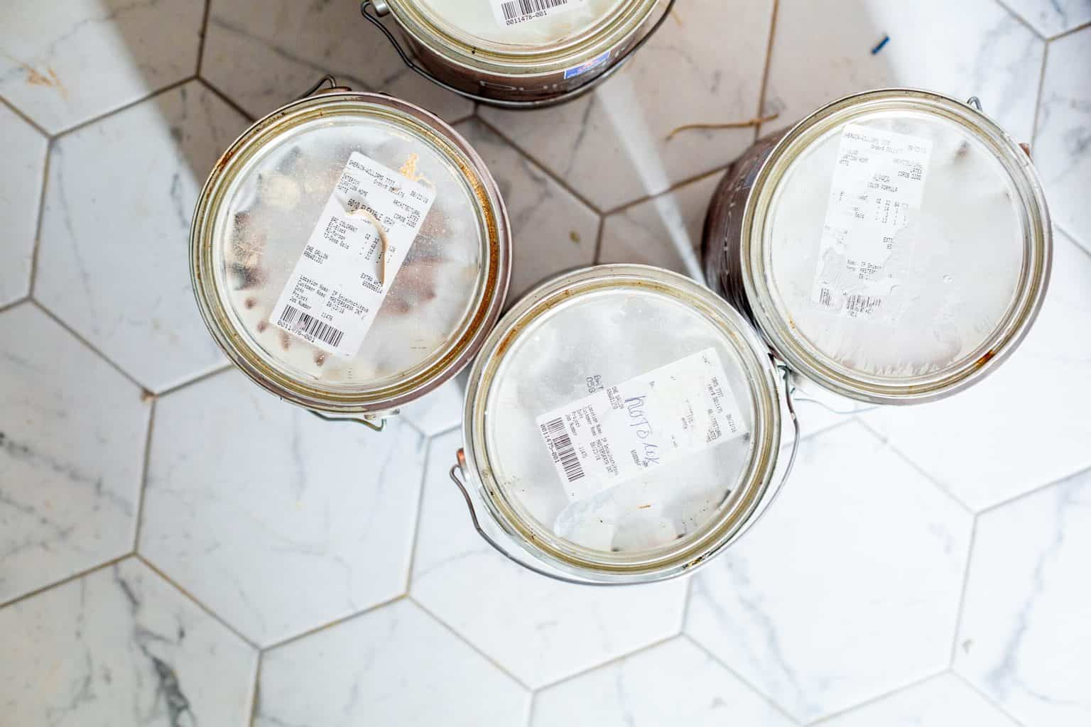 Top view of white paint cans