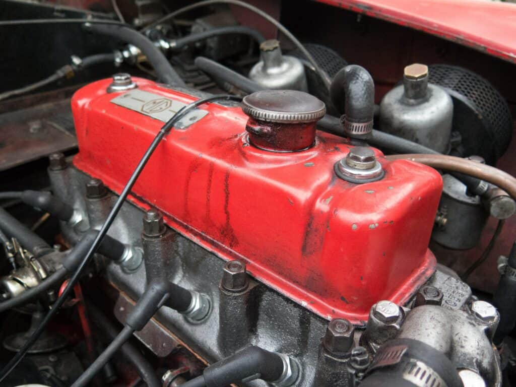 A red oil tank in an engine block