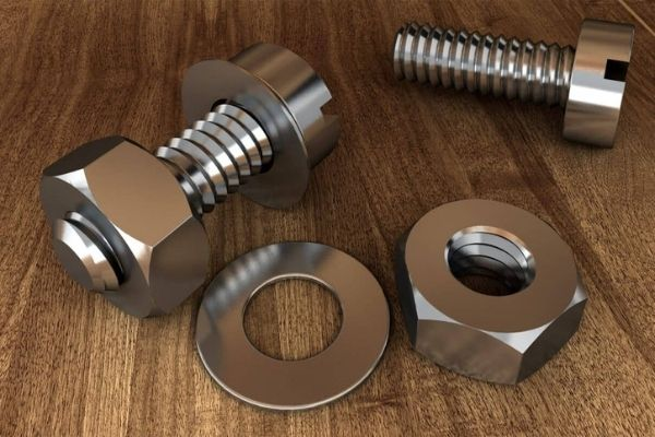 Two sets of metal screws with galvanized coating