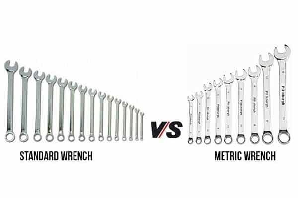 A comparison between a standard wrench and a metric wrench