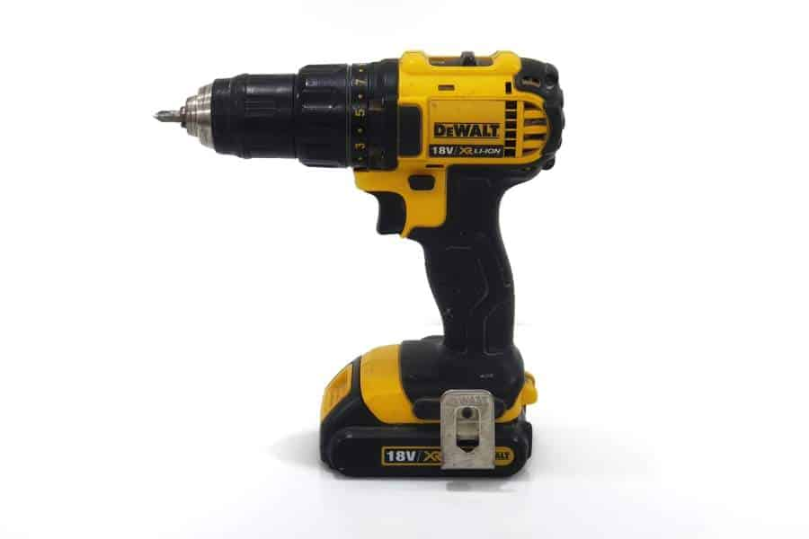 A black and yellow cordless drill