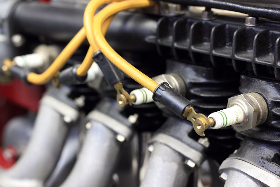 Wires attached to spark plugs