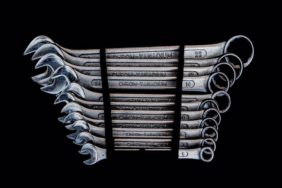Various types of wrenches