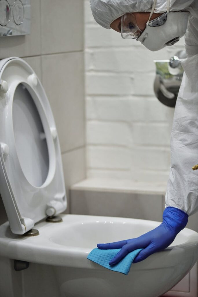 Person cleaning a toilet bowl
